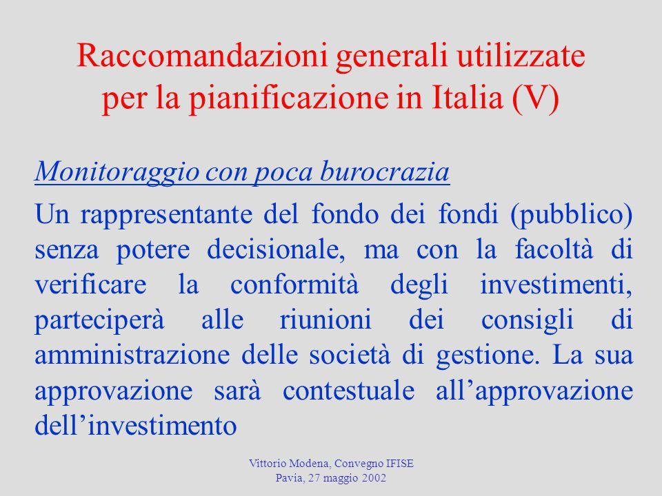 Vittorio Modena, Convegno IFISE Pavia, 27 maggio 2002 Raccomandazioni generali utilizzate per la pianificazione in Italia (V) Monitoraggio con poca burocrazia Un rappresentante del fondo dei fondi (pubblico) senza potere decisionale, ma con la facoltà di verificare la conformità degli investimenti, parteciperà alle riunioni dei consigli di amministrazione delle società di gestione.
