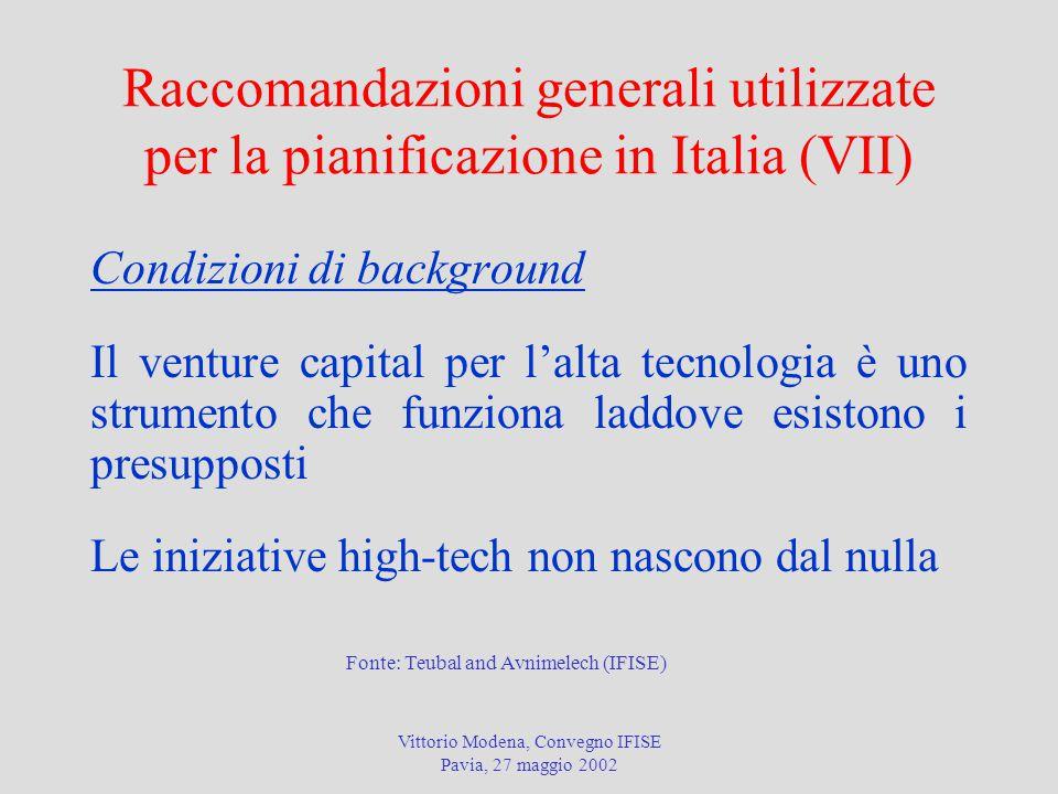 Vittorio Modena, Convegno IFISE Pavia, 27 maggio 2002 Raccomandazioni generali utilizzate per la pianificazione in Italia (VII) Condizioni di backgrou