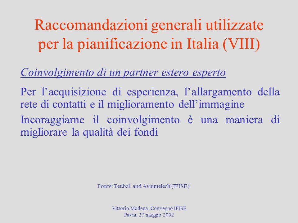 Vittorio Modena, Convegno IFISE Pavia, 27 maggio 2002 Raccomandazioni generali utilizzate per la pianificazione in Italia (VIII) Coinvolgimento di un