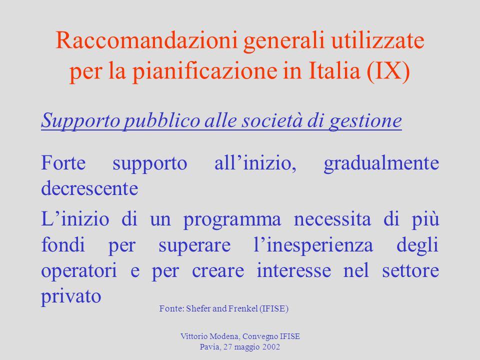 Vittorio Modena, Convegno IFISE Pavia, 27 maggio 2002 Raccomandazioni generali utilizzate per la pianificazione in Italia (IX) Supporto pubblico alle