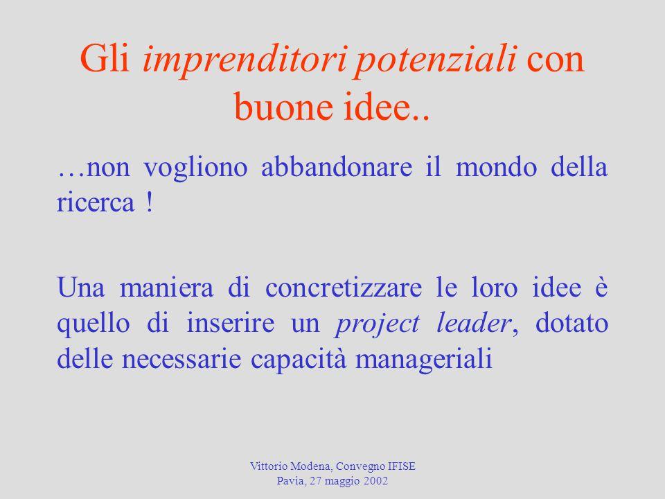 Vittorio Modena, Convegno IFISE Pavia, 27 maggio 2002 Gli imprenditori potenziali con buone idee.. …non vogliono abbandonare il mondo della ricerca !
