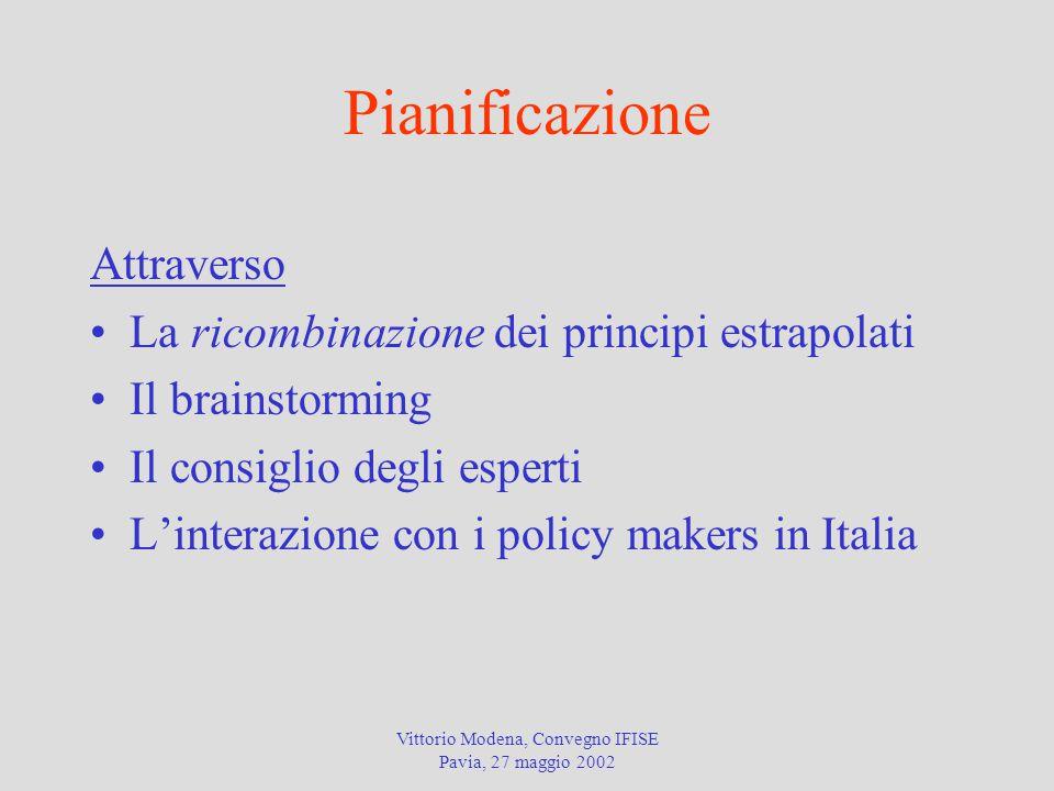 Vittorio Modena, Convegno IFISE Pavia, 27 maggio 2002 Pianificazione Attraverso La ricombinazione dei principi estrapolati Il brainstorming Il consiglio degli esperti L'interazione con i policy makers in Italia
