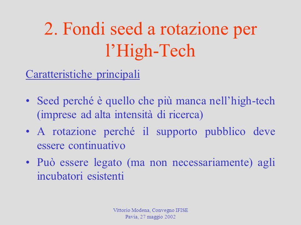 Vittorio Modena, Convegno IFISE Pavia, 27 maggio 2002 2. Fondi seed a rotazione per l'High-Tech Caratteristiche principali Seed perché è quello che pi