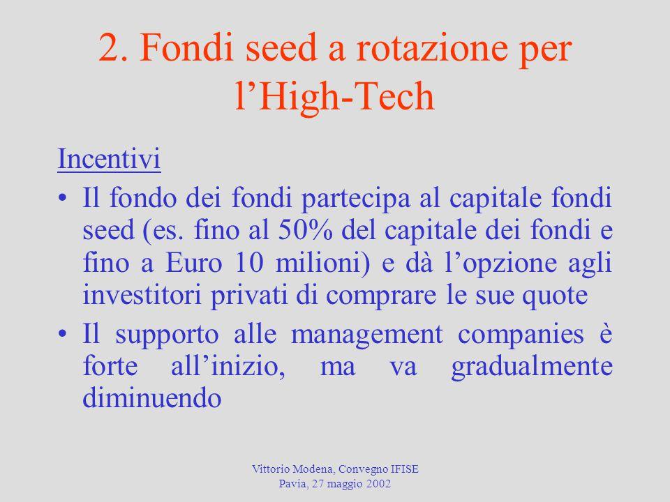 Vittorio Modena, Convegno IFISE Pavia, 27 maggio 2002 2. Fondi seed a rotazione per l'High-Tech Incentivi Il fondo dei fondi partecipa al capitale fon