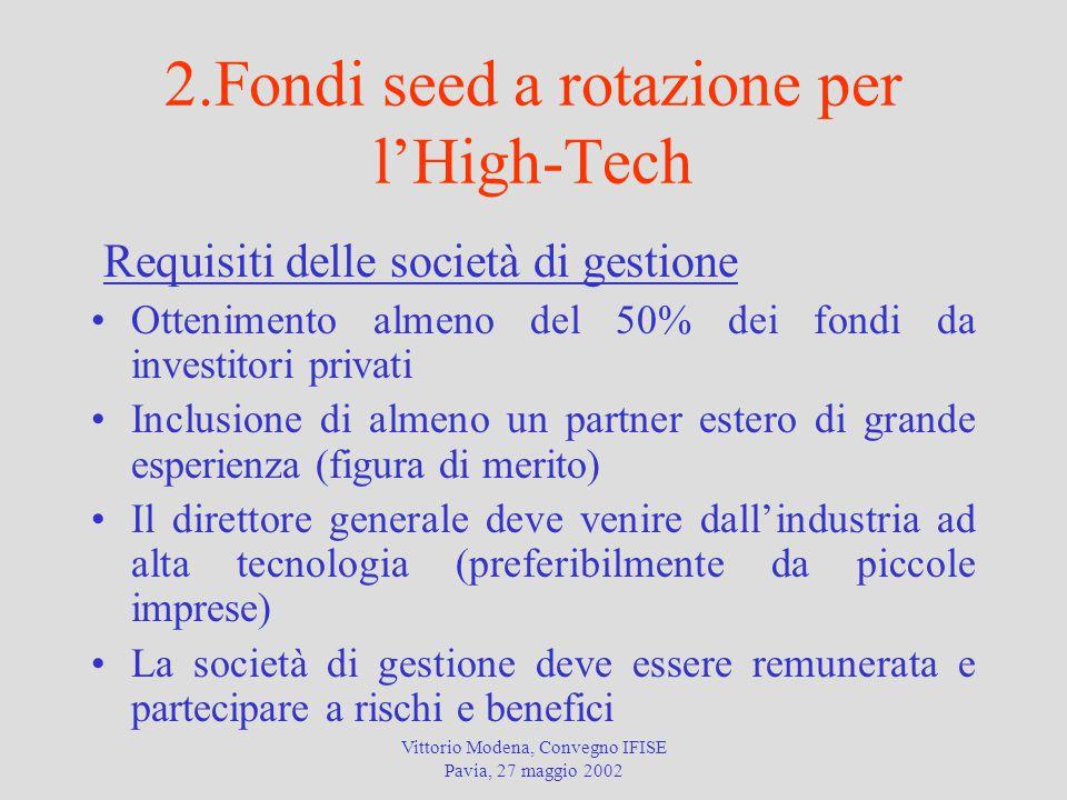 Vittorio Modena, Convegno IFISE Pavia, 27 maggio 2002 2.Fondi seed a rotazione per l'High-Tech Requisiti delle società di gestione Ottenimento almeno