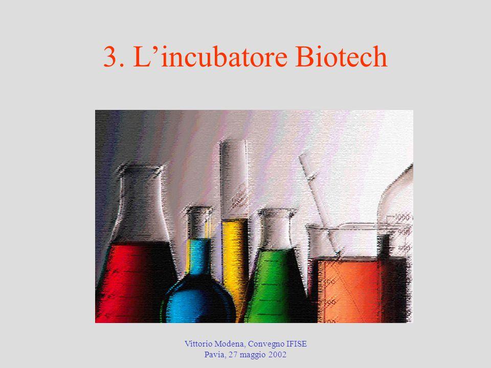 Vittorio Modena, Convegno IFISE Pavia, 27 maggio 2002 3. L'incubatore Biotech