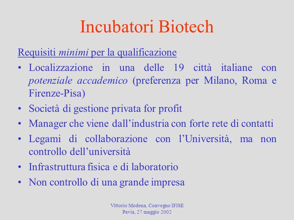 Vittorio Modena, Convegno IFISE Pavia, 27 maggio 2002 Incubatori Biotech Requisiti minimi per la qualificazione Localizzazione in una delle 19 città i