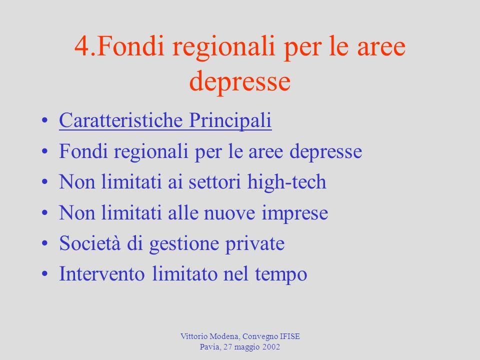 Vittorio Modena, Convegno IFISE Pavia, 27 maggio 2002 4.Fondi regionali per le aree depresse Caratteristiche Principali Fondi regionali per le aree de
