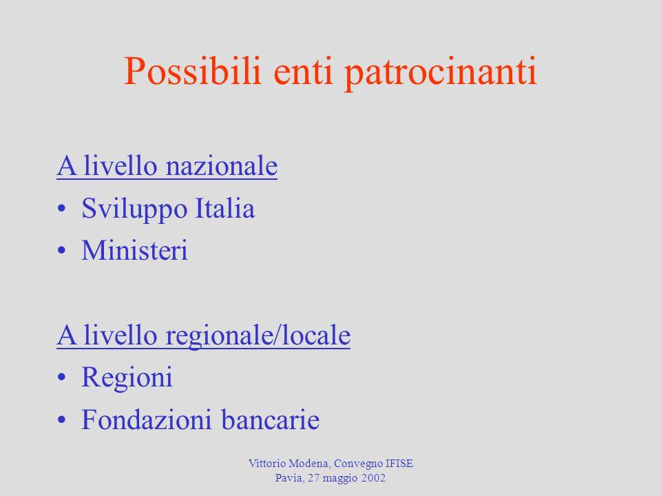 Vittorio Modena, Convegno IFISE Pavia, 27 maggio 2002 Possibili enti patrocinanti A livello nazionale Sviluppo Italia Ministeri A livello regionale/locale Regioni Fondazioni bancarie