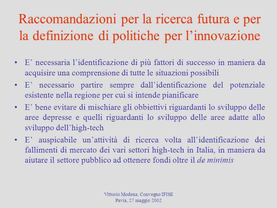 Vittorio Modena, Convegno IFISE Pavia, 27 maggio 2002 Raccomandazioni per la ricerca futura e per la definizione di politiche per l'innovazione E' nec