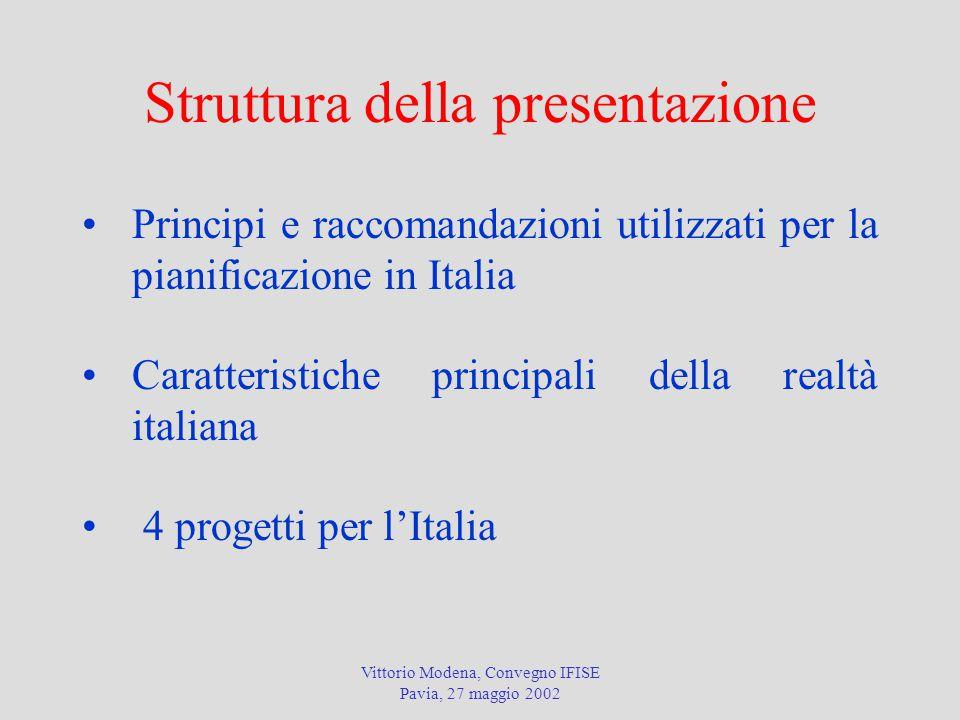 Vittorio Modena, Convegno IFISE Pavia, 27 maggio 2002 Struttura della presentazione Principi e raccomandazioni utilizzati per la pianificazione in Italia Caratteristiche principali della realtà italiana 4 progetti per l'Italia