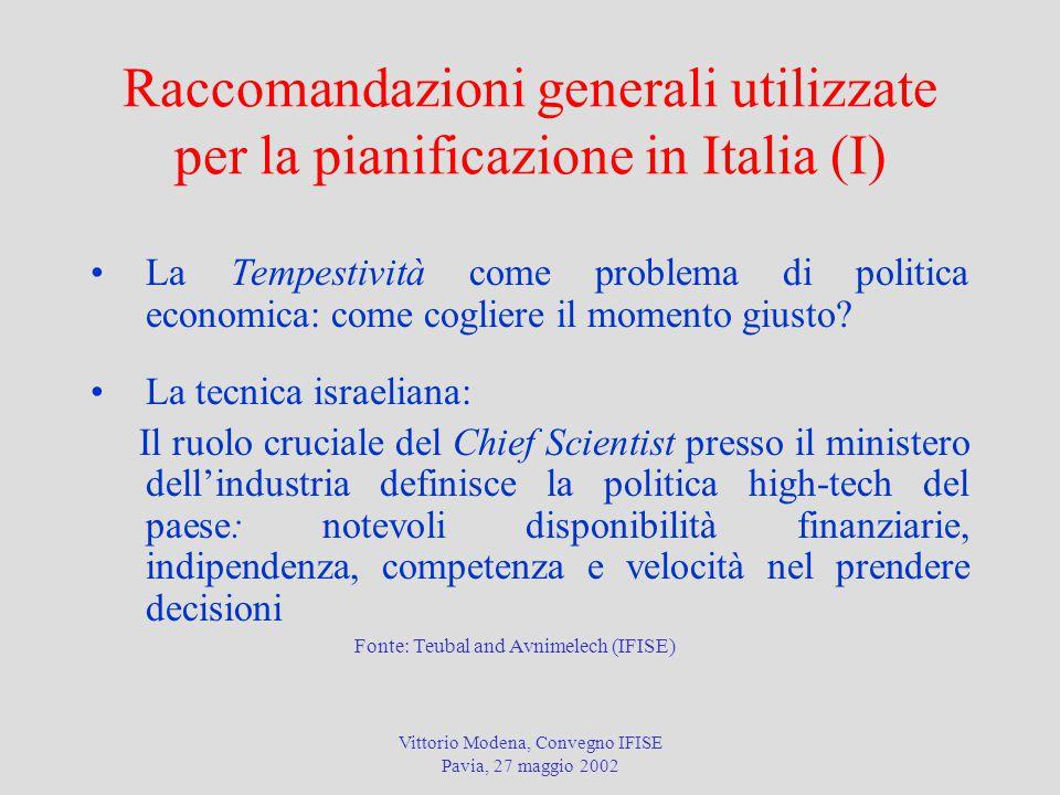 Vittorio Modena, Convegno IFISE Pavia, 27 maggio 2002 Raccomandazioni generali utilizzate per la pianificazione in Italia (I) La Tempestività come problema di politica economica: come cogliere il momento giusto.