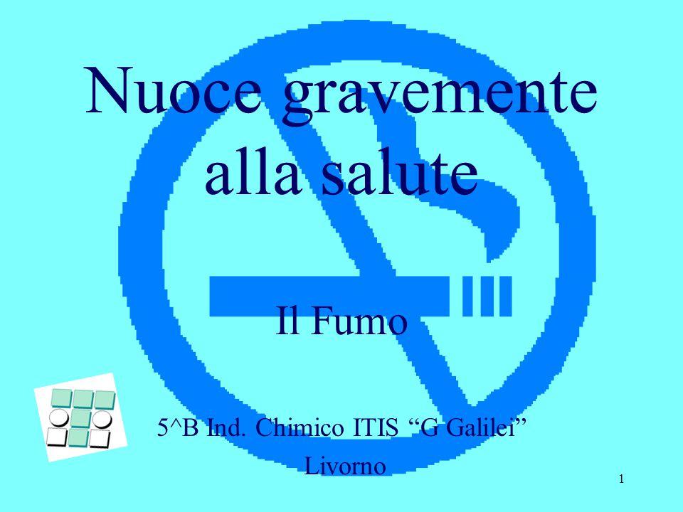 1 Nuoce gravemente alla salute Il Fumo 5^B Ind. Chimico ITIS G Galilei Livorno