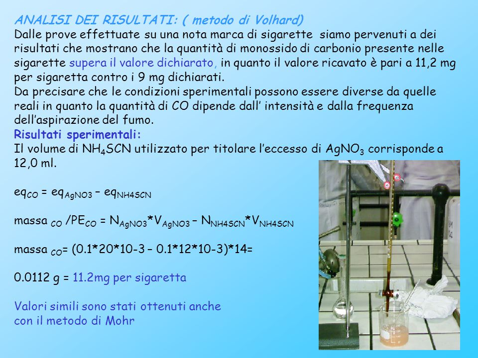 24 ANALISI DEI RISULTATI: ( metodo di Volhard) Dalle prove effettuate su una nota marca di sigarette siamo pervenuti a dei risultati che mostrano che la quantità di monossido di carbonio presente nelle sigarette supera il valore dichiarato, in quanto il valore ricavato è pari a 11,2 mg per sigaretta contro i 9 mg dichiarati.