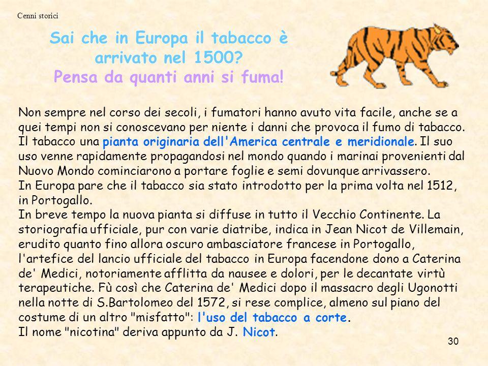 30 Non sempre nel corso dei secoli, i fumatori hanno avuto vita facile, anche se a quei tempi non si conoscevano per niente i danni che provoca il fumo di tabacco.