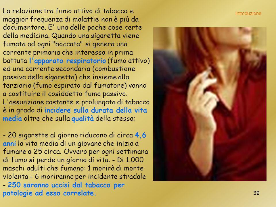 39 La relazione tra fumo attivo di tabacco e maggior frequenza di malattie non è più da documentare.
