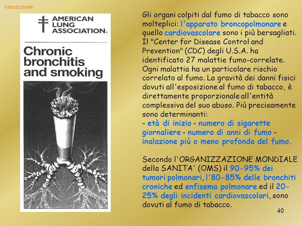 40 Gli organi colpiti dal fumo di tabacco sono molteplici: l apparato broncopolmonare e quello cardiovascolare sono i più bersagliati.