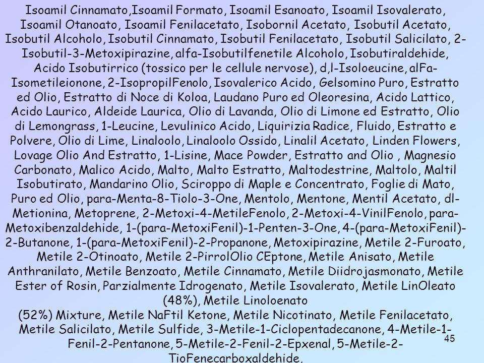 45 Isoamil Cinnamato,Isoamil Formato, Isoamil Esanoato, Isoamil Isovalerato, Isoamil Otanoato, Isoamil Fenilacetato, Isobornil Acetato, Isobutil Acetato, Isobutil Alcoholo, Isobutil Cinnamato, Isobutil Fenilacetato, Isobutil Salicilato, 2- Isobutil-3-Metoxipirazine, alfa-Isobutilfenetile Alcoholo, Isobutiraldehide, Acido Isobutirrico (tossico per le cellule nervose), d,l-Isoloeucine, alFa- Isometileionone, 2-IsopropilFenolo, Isovalerico Acido, Gelsomino Puro, Estratto ed Olio, Estratto di Noce di Koloa, Laudano Puro ed Oleoresina, Acido Lattico, Acido Laurico, Aldeide Laurica, Olio di Lavanda, Olio di Limone ed Estratto, Olio di Lemongrass, 1-Leucine, Levulinico Acido, Liquirizia Radice, Fluido, Estratto e Polvere, Olio di Lime, Linaloolo, Linaloolo Ossido, Linalil Acetato, Linden Flowers, Lovage Olio And Estratto, 1-Lisine, Mace Powder, Estratto and Olio, Magnesio Carbonato, Malico Acido, Malto, Malto Estratto, Maltodestrine, Maltolo, Maltil Isobutirato, Mandarino Olio, Sciroppo di Maple e Concentrato, Foglie di Mato, Puro ed Olio, para-Menta-8-Tiolo-3-One, Mentolo, Mentone, Mentil Acetato, dl- Metionina, Metoprene, 2-Metoxi-4-MetileFenolo, 2-Metoxi-4-VinilFenolo, para- Metoxibenzaldehide, 1-(para-MetoxiFenil)-1-Penten-3-One, 4-(para-MetoxiFenil)- 2-Butanone, 1-(para-MetoxiFenil)-2-Propanone, Metoxipirazine, Metile 2-Furoato, Metile 2-Otinoato, Metile 2-PirrolOlio CEptone, Metile Anisato, Metile Anthranilato, Metile Benzoato, Metile Cinnamato, Metile Diidrojasmonato, Metile Ester of Rosin, Parzialmente Idrogenato, Metile Isovalerato, Metile LinOleato (48%), Metile Linoloenato (52%) Mixture, Metile NaFtil Ketone, Metile Nicotinato, Metile Fenilacetato, Metile Salicilato, Metile Sulfide, 3-Metile-1-Ciclopentadecanone, 4-Metile-1- Fenil-2-Pentanone, 5-Metile-2-Fenil-2-Epxenal, 5-Metile-2- TioFenecarboxaldehide,