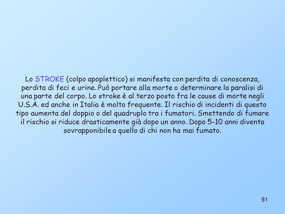 51 Lo STROKE (colpo apoplettico) si manifesta con perdita di conoscenza, perdita di feci e urine.