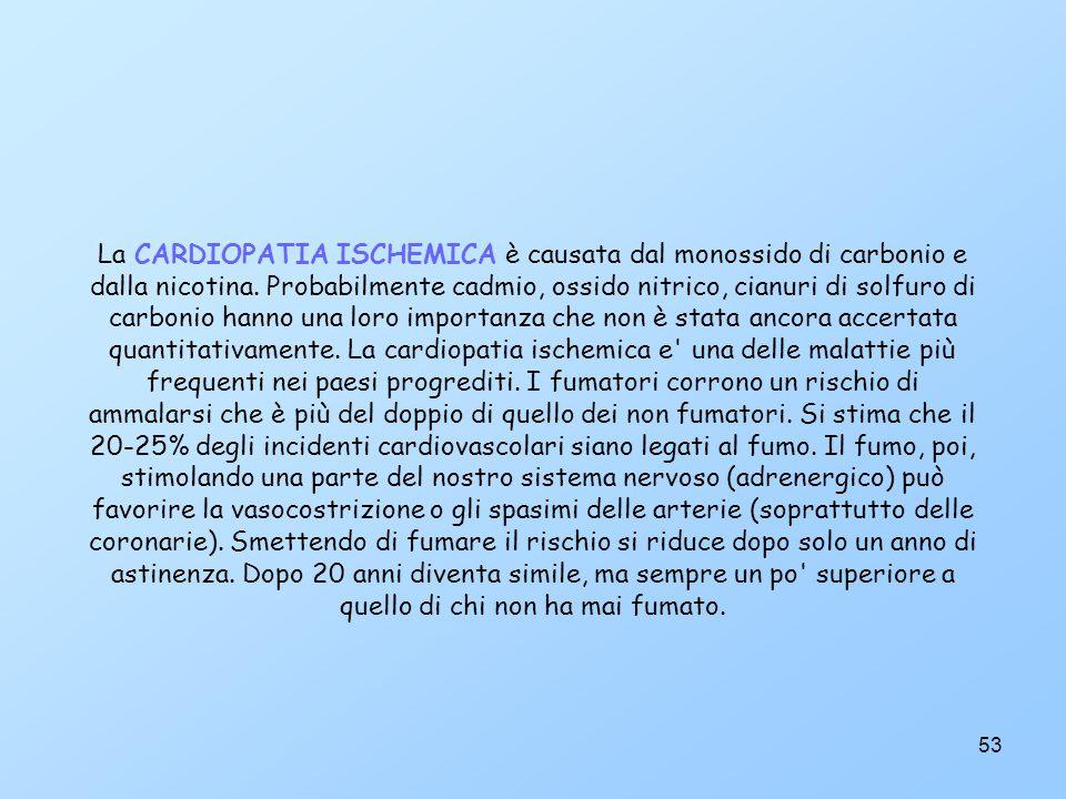53 La CARDIOPATIA ISCHEMICA è causata dal monossido di carbonio e dalla nicotina.