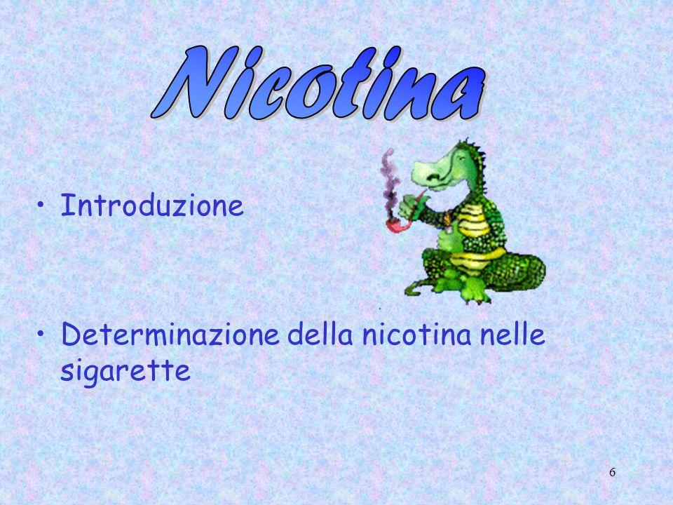 6 Introduzione Determinazione della nicotina nelle sigarette