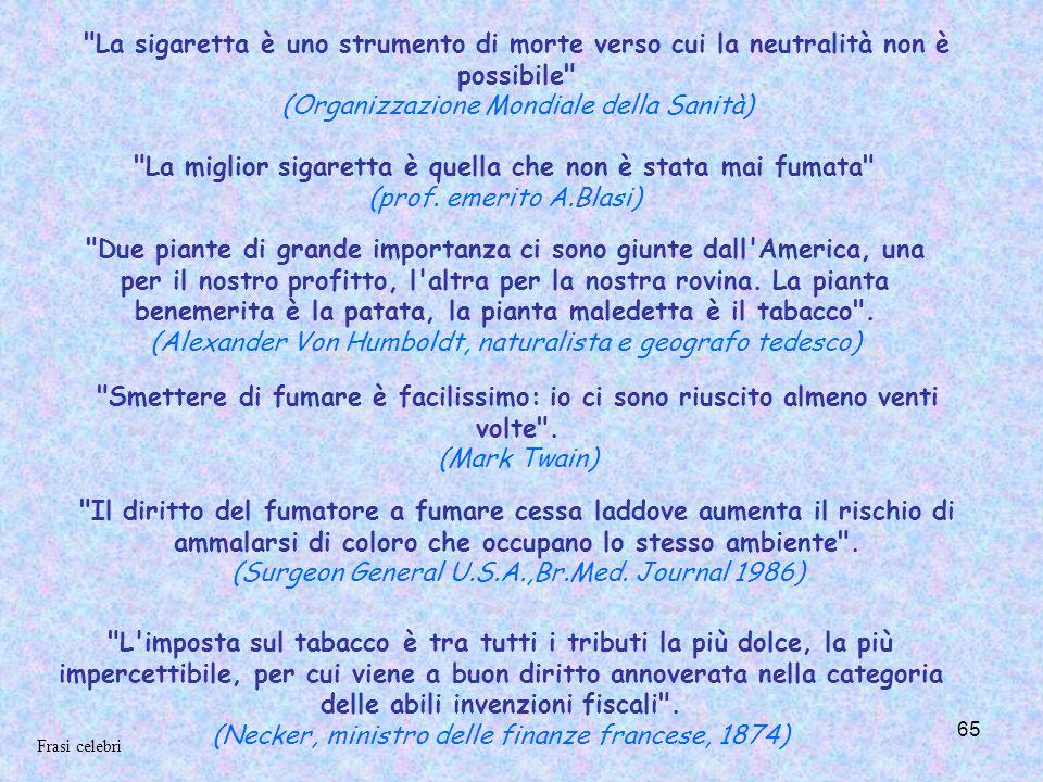 65 La sigaretta è uno strumento di morte verso cui la neutralità non è possibile (Organizzazione Mondiale della Sanità) La miglior sigaretta è quella che non è stata mai fumata (prof.