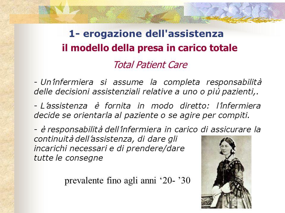 1- erogazione dell assistenza il modello della presa in carico totale Total Patient Care - Un ' infermiera si assume la completa responsabilit à delle decisioni assistenziali relative a uno o pi ù pazienti,.