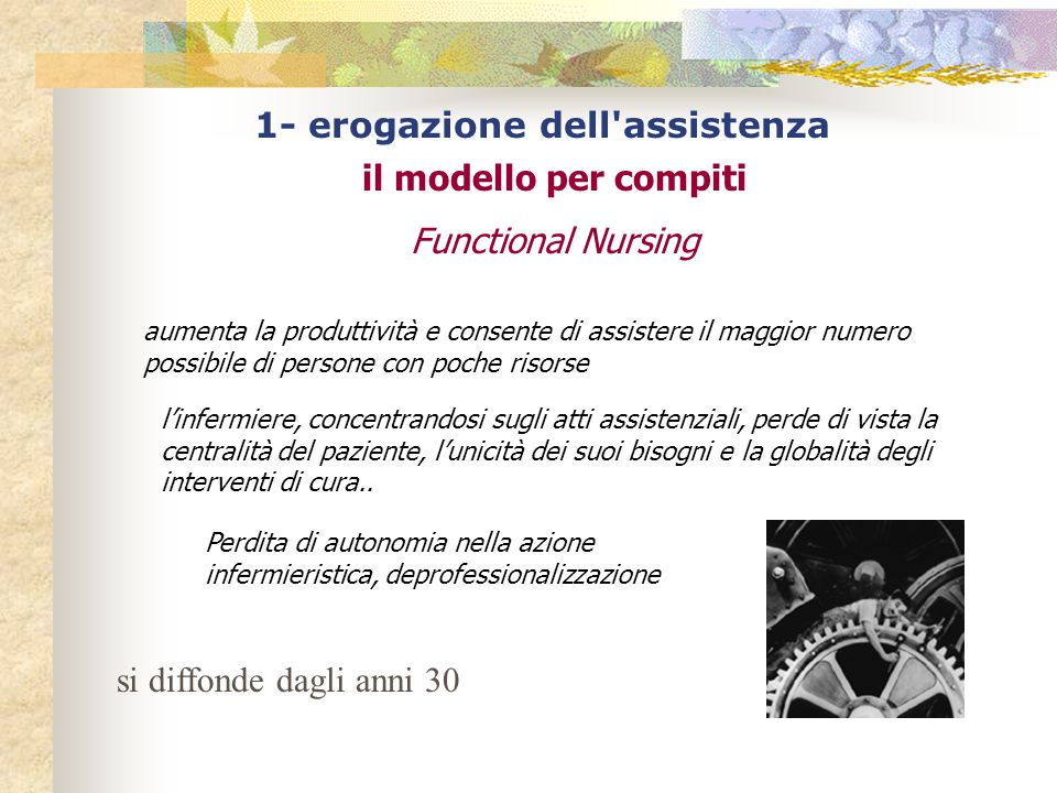 1- erogazione dell'assistenza il modello per compiti Functional Nursing aumenta la produttività e consente di assistere il maggior numero possibile di