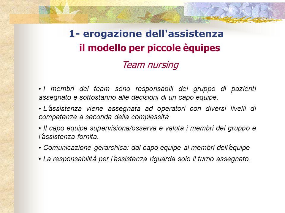 1- erogazione dell assistenza il modello per piccole èquipes Team nursing I membri del team sono responsabili del gruppo di pazienti assegnato e sottostanno alle decisioni di un capo equipe.
