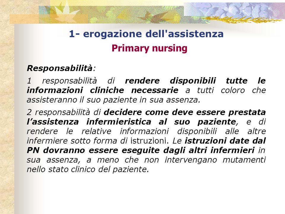 1- erogazione dell assistenza Primary nursing Responsabilità: 1 responsabilità di rendere disponibili tutte le informazioni cliniche necessarie a tutti coloro che assisteranno il suo paziente in sua assenza.