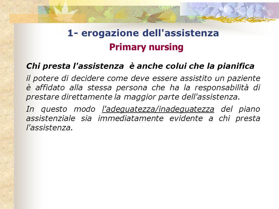 1- erogazione dell assistenza Primary nursing Chi presta l assistenza è anche colui che la pianifica il potere di decidere come deve essere assistito un paziente è affidato alla stessa persona che ha la responsabilità di prestare direttamente la maggior parte dell assistenza.