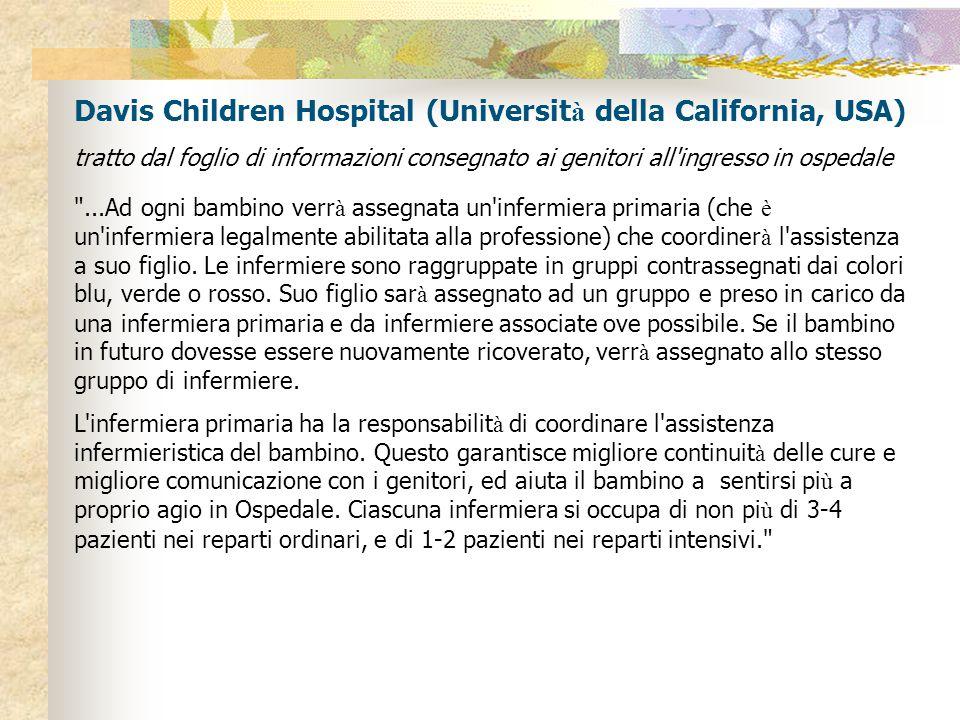 Davis Children Hospital (Universit à della California, USA) tratto dal foglio di informazioni consegnato ai genitori all ingresso in ospedale ...Ad ogni bambino verr à assegnata un infermiera primaria (che è un infermiera legalmente abilitata alla professione) che coordiner à l assistenza a suo figlio.