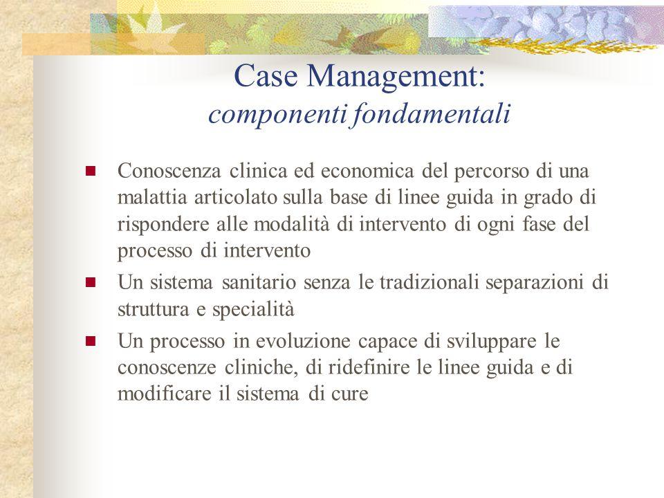 Case Management: componenti fondamentali Conoscenza clinica ed economica del percorso di una malattia articolato sulla base di linee guida in grado di