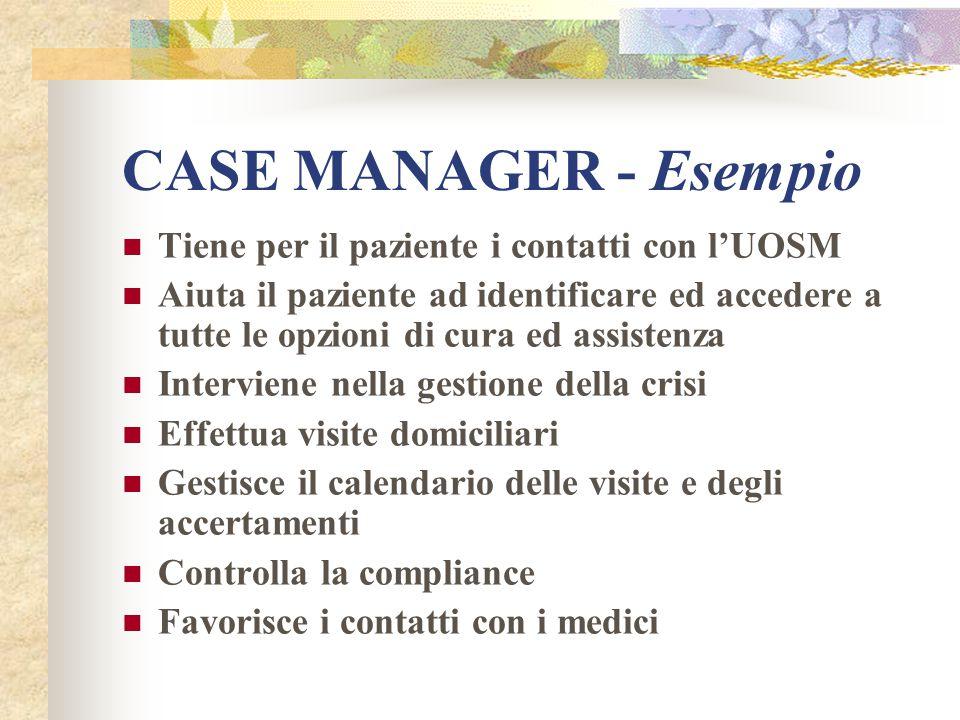 CASE MANAGER - Esempio Tiene per il paziente i contatti con l'UOSM Aiuta il paziente ad identificare ed accedere a tutte le opzioni di cura ed assiste