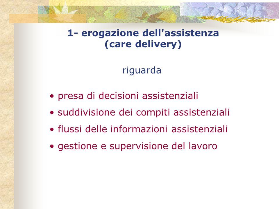 1- erogazione dell assistenza (care delivery) riguarda presa di decisioni assistenziali suddivisione dei compiti assistenziali flussi delle informazioni assistenziali gestione e supervisione del lavoro