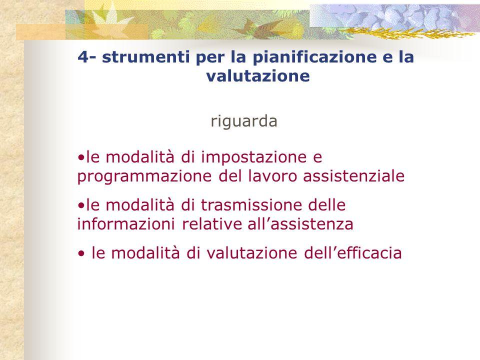 4- strumenti per la pianificazione e la valutazione riguarda le modalità di impostazione e programmazione del lavoro assistenziale le modalità di trasmissione delle informazioni relative all'assistenza le modalità di valutazione dell'efficacia
