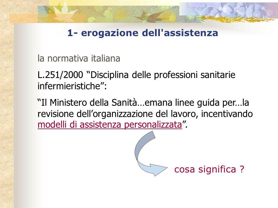 1- erogazione dell assistenza la normativa italiana L.251/2000 Disciplina delle professioni sanitarie infermieristiche : Il Ministero della Sanità…emana linee guida per…la revisione dell'organizzazione del lavoro, incentivando modelli di assistenza personalizzata .