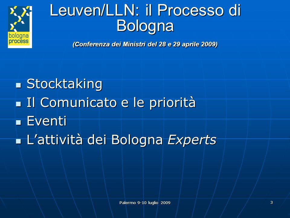 Palermo 9-10 luglio 2009 3 Leuven/LLN: il Processo di Bologna (Conferenza dei Ministri del 28 e 29 aprile 2009) Stocktaking Stocktaking Il Comunicato e le priorità Il Comunicato e le priorità Eventi Eventi L'attività dei Bologna Experts L'attività dei Bologna Experts