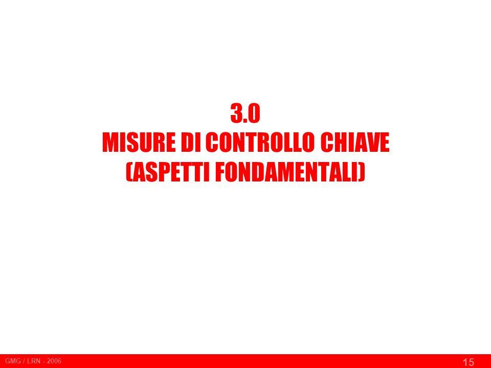 GMG / LRN - 2006 15 3.0 MISURE DI CONTROLLO CHIAVE (ASPETTI FONDAMENTALI)