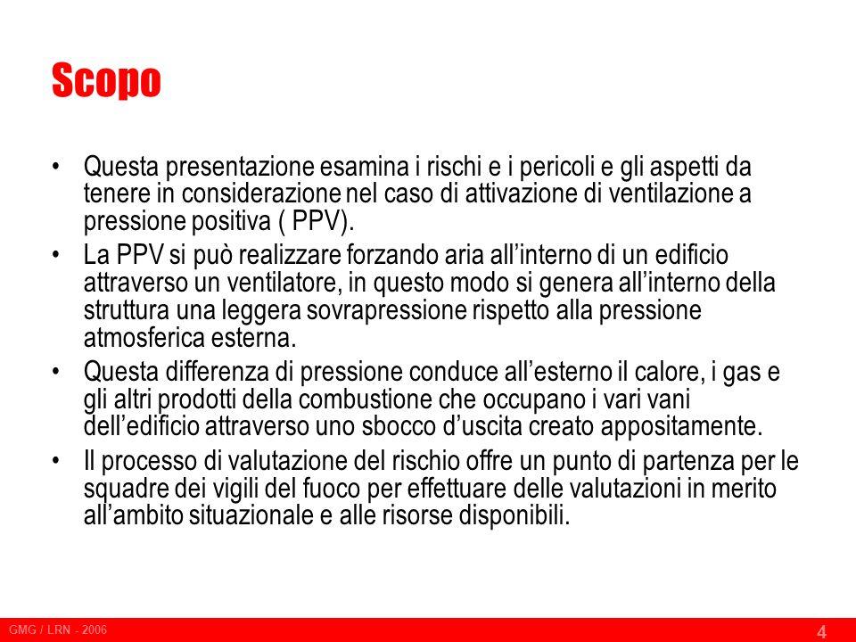 GMG / LRN - 2006 4 Scopo Questa presentazione esamina i rischi e i pericoli e gli aspetti da tenere in considerazione nel caso di attivazione di ventilazione a pressione positiva ( PPV).