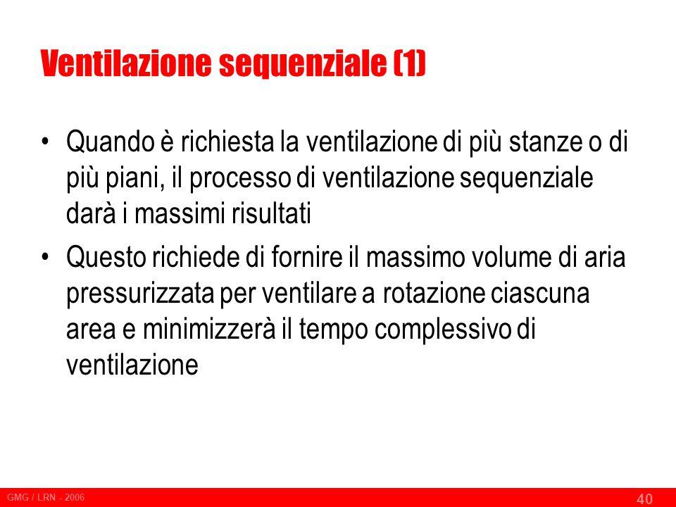 GMG / LRN - 2006 40 Ventilazione sequenziale (1) Quando è richiesta la ventilazione di più stanze o di più piani, il processo di ventilazione sequenziale darà i massimi risultati Questo richiede di fornire il massimo volume di aria pressurizzata per ventilare a rotazione ciascuna area e minimizzerà il tempo complessivo di ventilazione