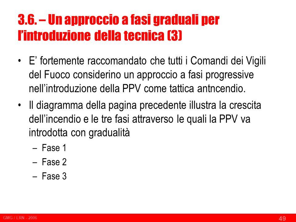 GMG / LRN - 2006 49 E' fortemente raccomandato che tutti i Comandi dei Vigili del Fuoco considerino un approccio a fasi progressive nell'introduzione della PPV come tattica antncendio.