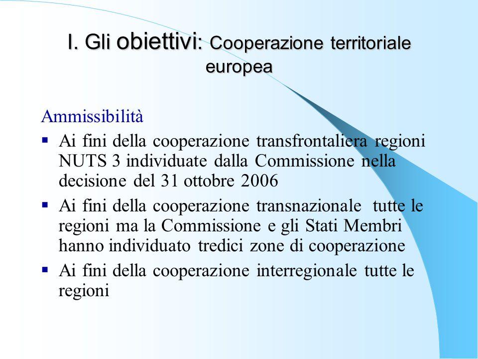 I. Gli obiettivi : Cooperazione territoriale europea Ammissibilità  Ai fini della cooperazione transfrontaliera regioni NUTS 3 individuate dalla Comm