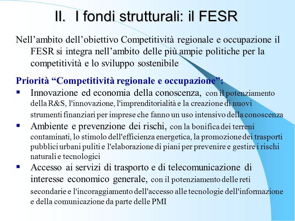 II. I fondi strutturali: il FESR Nell'ambito dell'obiettivo Competitività regionale e occupazione il FESR si integra nell'ambito delle più ampie polit