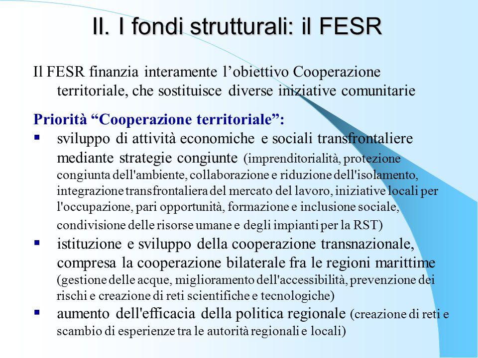 II. I fondi strutturali: il FESR Il FESR finanzia interamente l'obiettivo Cooperazione territoriale, che sostituisce diverse iniziative comunitarie Pr