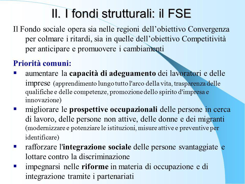 II. I fondi strutturali: il FSE Il Fondo sociale opera sia nelle regioni dell'obiettivo Convergenza per colmare i ritardi, sia in quelle dell'obiettiv