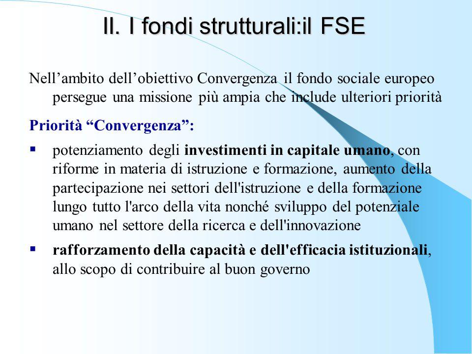 II. I fondi strutturali:il FSE Nell'ambito dell'obiettivo Convergenza il fondo sociale europeo persegue una missione più ampia che include ulteriori p