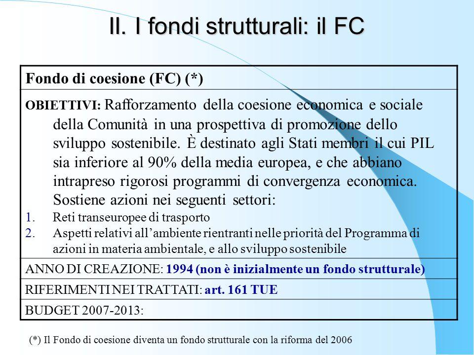 II. I fondi strutturali: il FC Fondo di coesione (FC) (*) OBIETTIVI: Rafforzamento della coesione economica e sociale della Comunità in una prospettiv