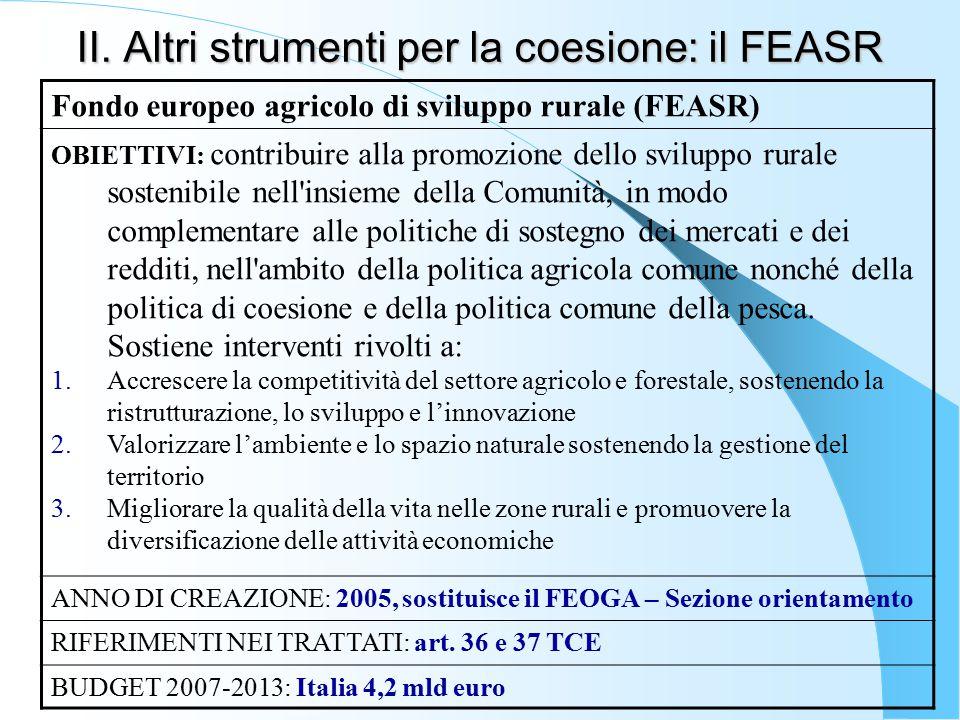 II. Altri strumenti per la coesione: il FEASR Fondo europeo agricolo di sviluppo rurale (FEASR) OBIETTIVI: contribuire alla promozione dello sviluppo