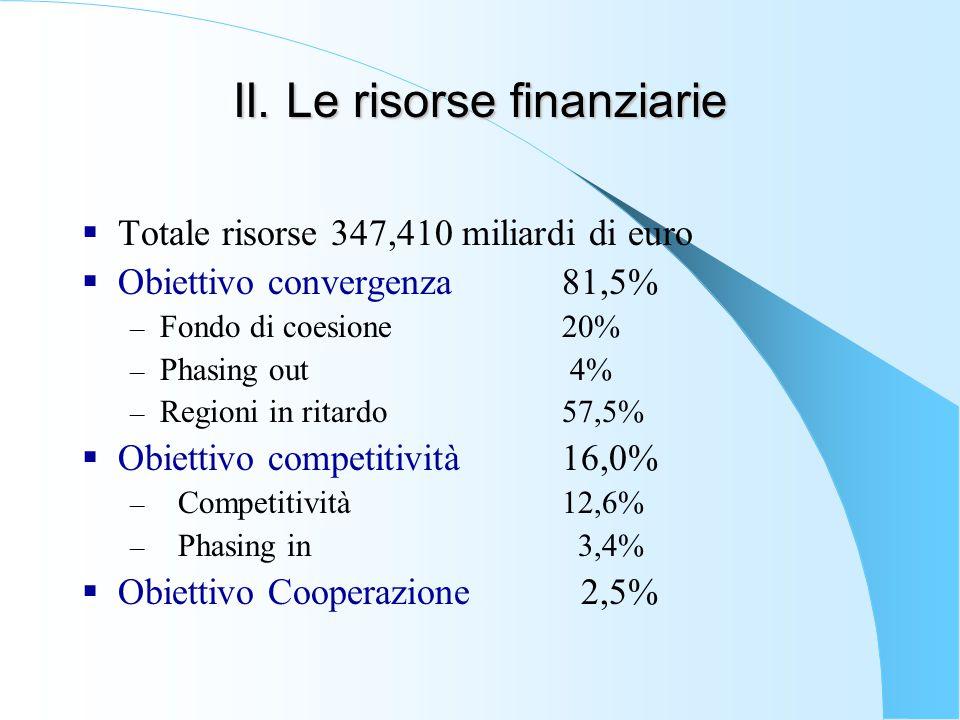 II. Le risorse finanziarie  Totale risorse 347,410 miliardi di euro  Obiettivo convergenza 81,5% – Fondo di coesione20% – Phasing out 4% – Regioni i